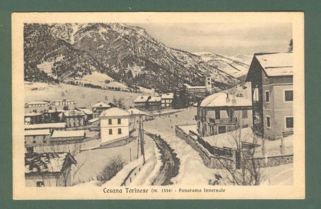Piemonte. CESANA TORINESE, Torino. Panorama invernale. Cartolina d'epoca viaggiata nel 1931.