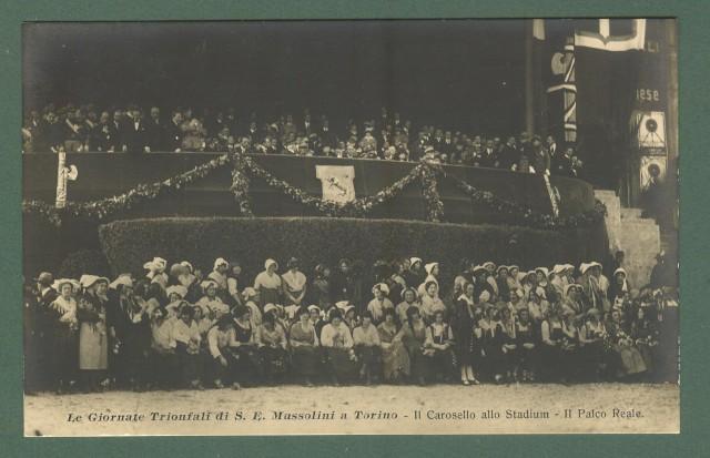Piemonte. TORINO. Giornate di Mussolini a Torino. Il Carosello allo Stadium. Cartolina d'epoca viaggiata nel 1924.