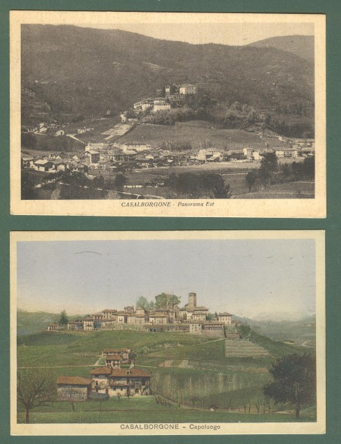 Piemonte. CASALBORGONE, Torino. Due cartoline d'epoca viaggiate nel 1937.