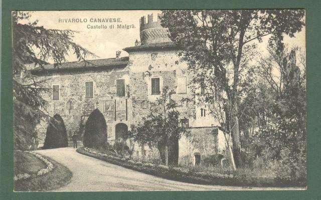 Piemonte. RIVAROLO CANAVESE, Torino. Castello di Malgrà. Cartolina d'epoca viaggiata nel 1906.