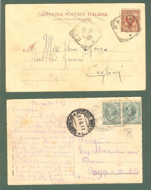 Lombardia. PAVIA. Due cartoline d'epoca viaggiate nel 1902 e 1917.