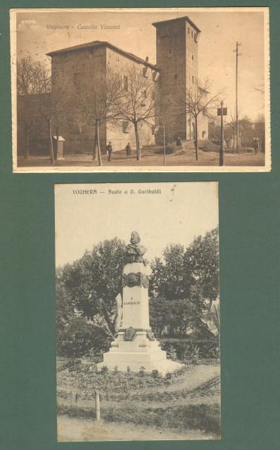 Lombardia. VOGHERA, Pavia. Due cartoline d'epoca viaggiate nel 1916 - 1921.