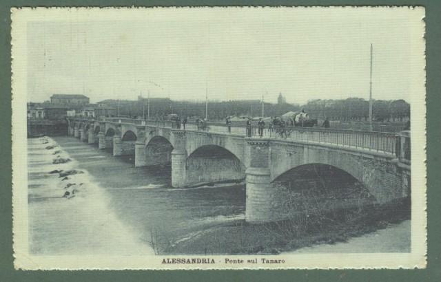 Piemonte. ALESSANDRIA. Ponte sul Tanaro. Cartolina d'epoca viaggiata nel 1917.
