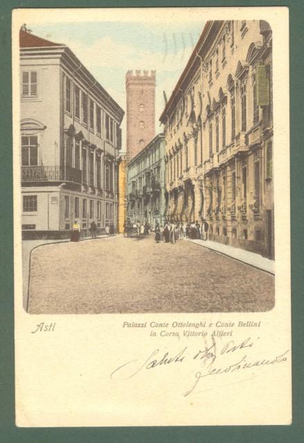 Piemonte. ASTI. Via Alfieri. Cartolina d'epoca viaggiata nel 1932