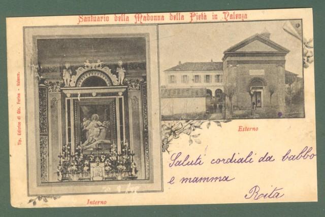 Piemonte. VALENZA, Alessandria. Santuario Madonna della Pietà. Cartolina d'epoca viaggiata nel 1901.