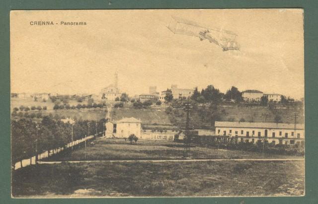 Lombardia. CRENNA, Varese. Aereo in fotomontaggio. Cartolina d'epoca viaggiata nel 1926