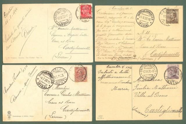 Trentino. CAVALESE, Trento. Quattro cartoline d'epoca viaggiate tra il 1923 e il 1932