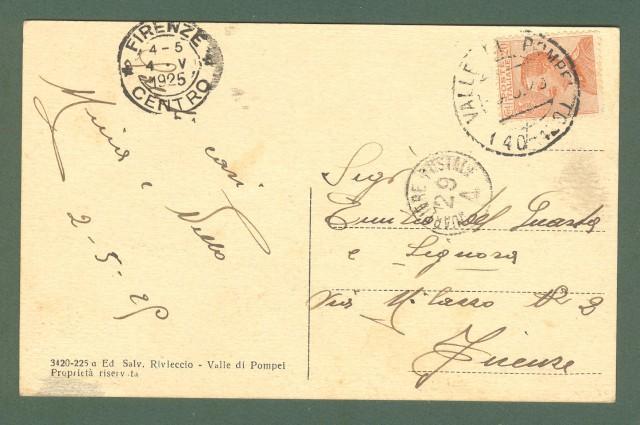 Campania. VALLE DI POMPEI, Napoli. Via sacra. Cartolina d'epoca viaggiata nel 1925.