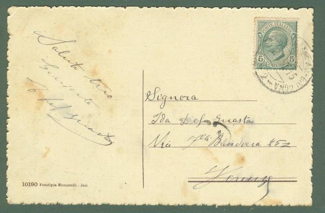 Marche. FALCONARA MARITTIMA, Ancona. Via Nazionale e Villino Savignoni. Cartolina d'epoca viaggiata nel 1915