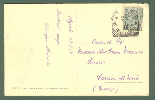 (Veneto) PIEVE DI LIVINALLONGO. Cartolina d'epoca viaggiata nel 1917.