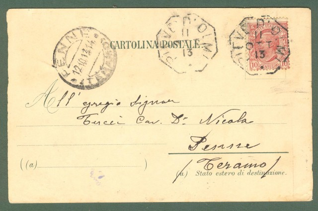 Veneto. PIEVE DI CADORE (Belluno). Saluti da. Cartolina d'epoca viaggiata nel 1913.