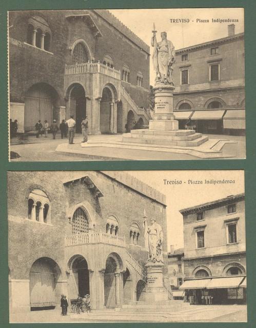 Veneto. TREVISO. Piazza Indipendenza. Due cartoline d'epoca non viaggiate, circa 1920