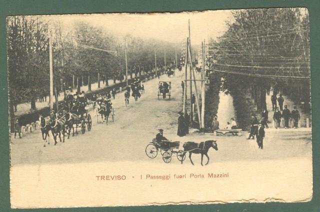 Veneto. TREVISO. I Passeggi fuori Porta Mazzini. Cartolina d'epoca viaggiata primi '900.