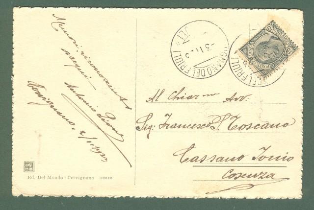 Friuli. AQUILEIA, Udine. Cartolina d'epoca viaggiata nel 1923.