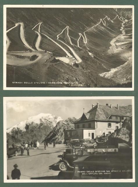 Lombardia. PASSO DELLO STELVIO, Bolzano. Due cartoline d'epoca viaggiate nel 1936 e nel 1938