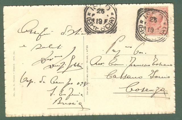 Lombardia. ISEO, Brescia. Monumento a Garibaldi. Cartolina d'epoca viaggiata nel 1919.