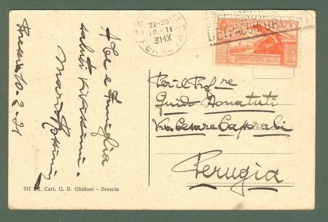 Lombardia. BRESCIA. piazzola Venezia. Cartolina d'epoca viaggiata nel 1931.