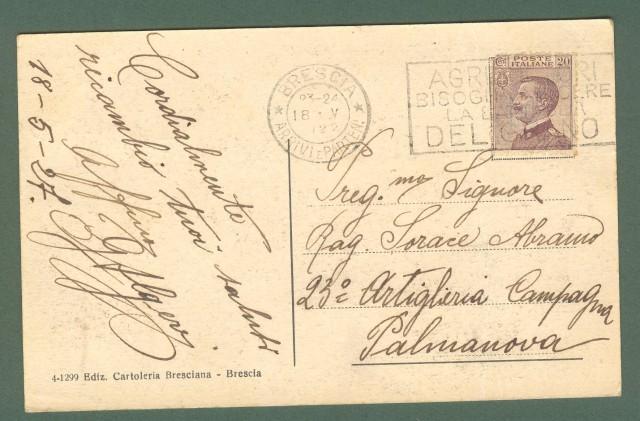 Lombardia. BRESCIA. Castello e Torre Mirabella. Cartolina d'epoca viaggiata nel 1927.