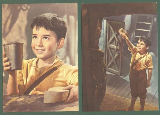 FILM. MARCELLINO PANE E VINO. Due cartoline d'epoca non viaggiata, anni 1950.