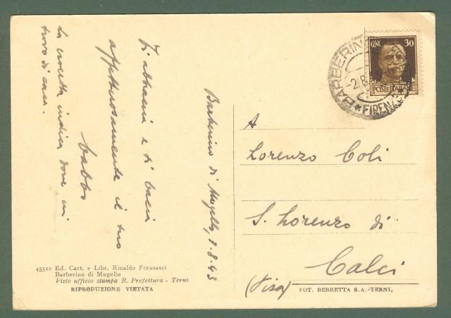 Toscana. BARBERINO DI MUGELLO, Firenze. Via Roma. Cartolina d'epoca viaggiata nel 1943.