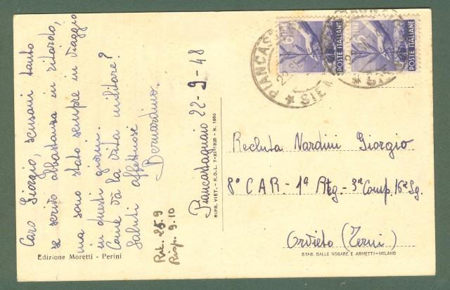 Toscana. PIANCASTAGNAIO, Siena. Il convento. Cartolina d'epoca viaggiata nel 1948.