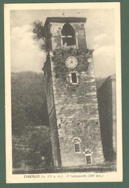 Toscana. CIREGLIO, Pistoia. Il campanile. Cartolina d'epoca viaggiata nel 1925.