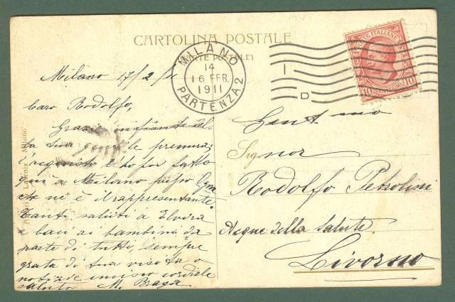 Lombardia. MILANO. Villino Braga. Cartolina d'epoca viaggiata nel 1911.