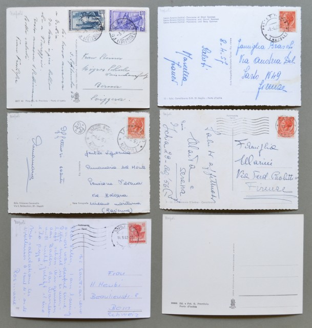 Campania. ISCHIA. Sei cartoline d'epoca (5 viaggiate nel 1956 - 1957).