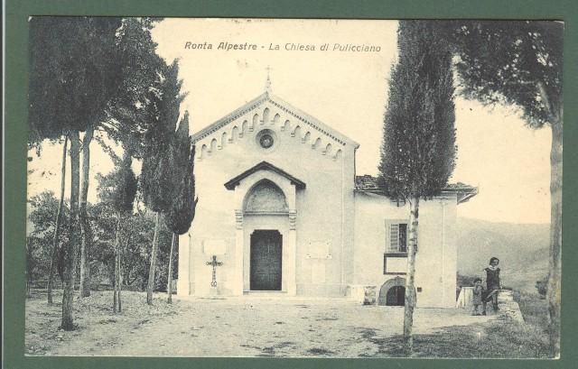 Toscana. RONTA ALPESTRE, Firenze. Chiesa di Pulicciano. Cartolina d'epoca viaggiata nel 1930.