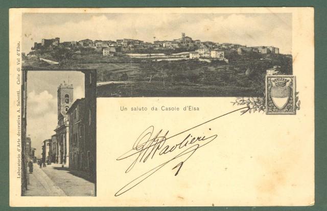 Toscana. CASOLE D'ELSA, Siena. Un saluto da Casole d'Elsa. Cartolina d'epoca viaggiata nel 1905.