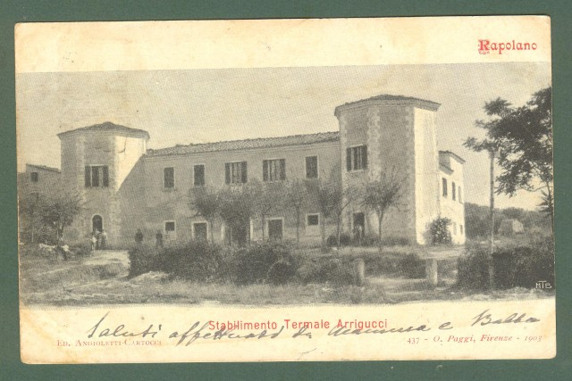 Toscana. RAPOLANO, Siena. Stabilimento teatrale Arrigucci. Cartolina d'epoca viaggiata nel 1902.