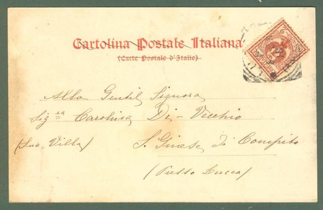 Toscana. PONTE A MORIANO, Lucca. Cartolina d'epoca viaggiata nel 1904.