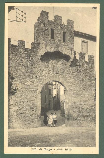 Toscana. BARGA, Lucca. Porta Reale. Cartolina d'epoca viaggiata nel 1936.