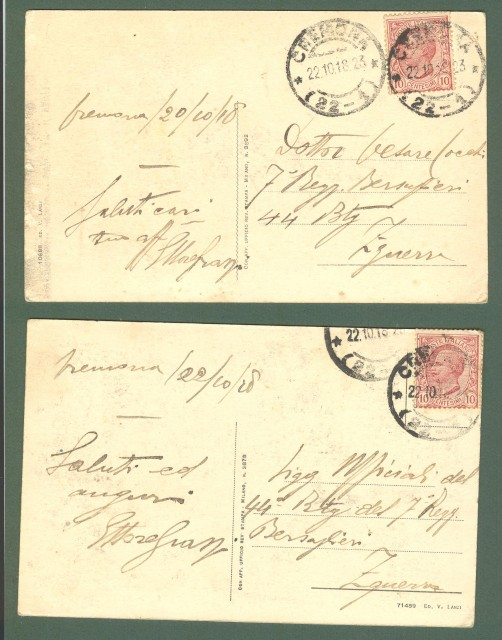 Lombardia. CREMONA. Due cartoline d'epoca viaggiate nel 1918.