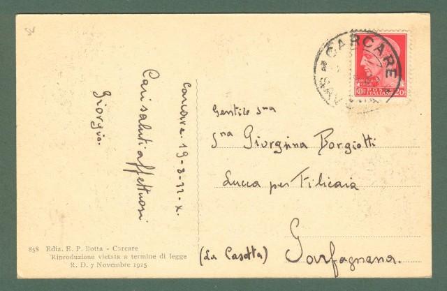 Liguria. CARCARE, Savona. Piazza Sapeto. Cartolina d'epoca viaggiata nel 1932.