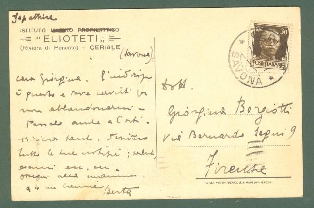 Liguria. CERIALE, Savona. Istituto Elioteti. Cartolina d'epoca viaggiata nel 1931.
