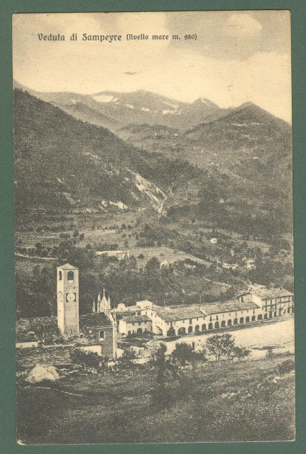 Piemonte. SAMPEYRE, Cuneo. Panorama. Cartolina d'epoca viaggiata nel 1923.