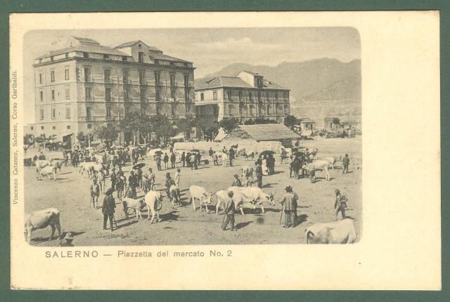 Campania. SALERNO. Piazzetta del mercato No.2. Cartolina d'epoca viaggiata nel 1902.