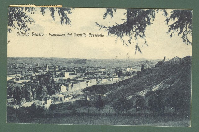 Veneto. VITTORIO VENETO, Treviso. Panorama. Cartolina d'epoca viaggiata nel 1928.