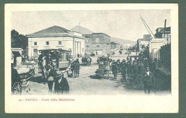 Campania. NAPOLI. Ponte della Maddalena. Cartolina d'epoca viaggiata, primi 1900.