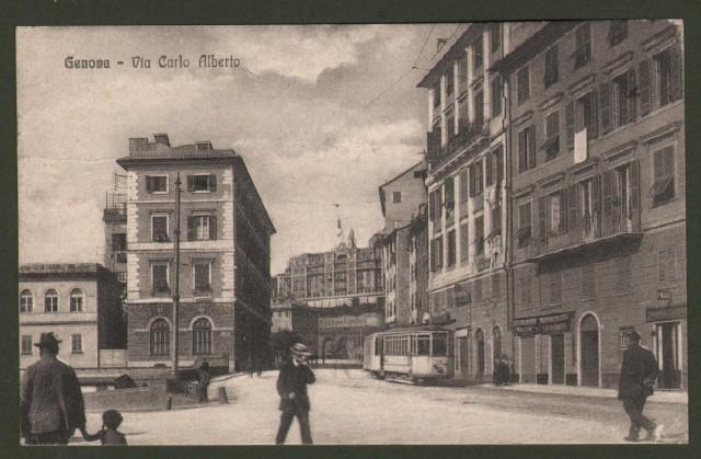 Liguria. GENOVA. Via C. Alberto. Cartolina d'epoca viaggiata nel 1918.