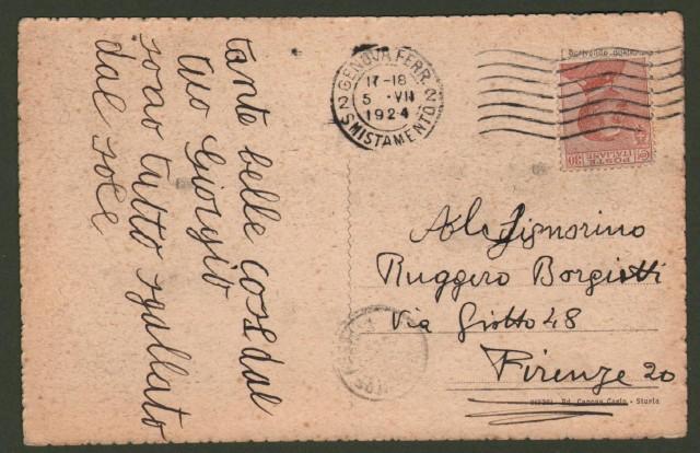 Liguria. STURLA, Genova. Panorama. Cartolina d'epoca viaggiata nel 1924.