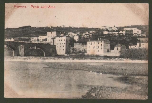 Toscana. RIGNANO, Firenze. Ponte sull'Arno. Cartolina d'epoca non viaggiata, inizio '900.
