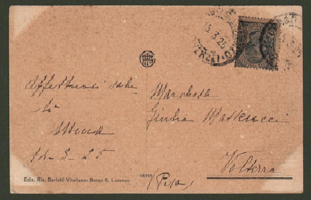 Toscana. BORGO SAN LORENZO, Firenze. Orfanotrofio Umberto I. Cartolina d'epoca viaggiata nel 1925.