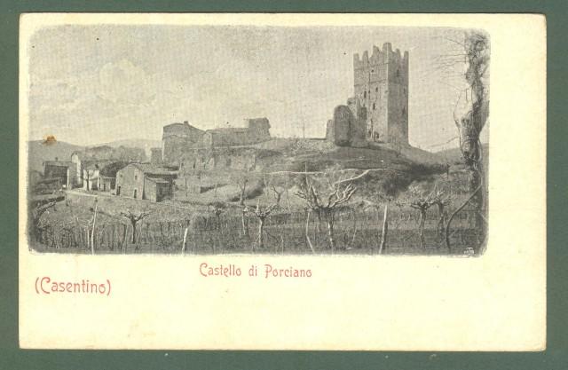Toscana. PORCIANO, Arezzo. Il castello. Cartolina d'epoca non viaggiata, inizio 1900.