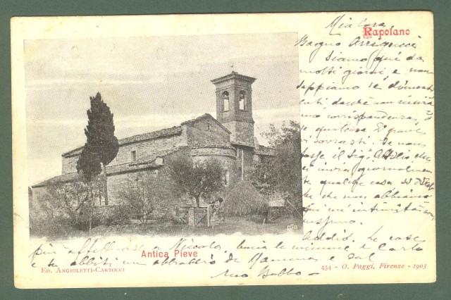 Toscana. RAPOLANO, Siena. Antica Pieve. Cartolina d'epoca viaggiata nel 1905