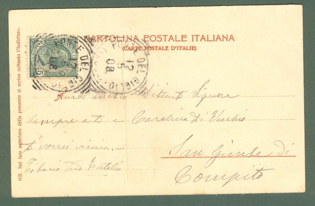 Toscana. LUCCA. Stazione ferroviaria. Cartolina d'epoca viaggiata nel 1908.