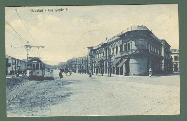 Sicilia. MESSINA. Via Garibaldi. Cartolina d'epoca viaggiata nel 1925.