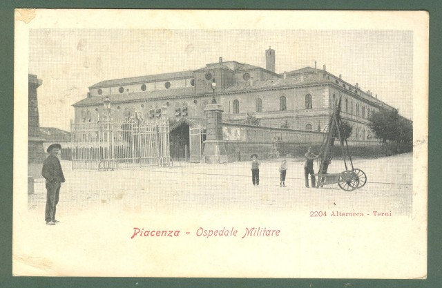 Emilia Romagna. PIACENZA. Ospedale militare. Cartolina d'epoca viaggiata nel 1907.