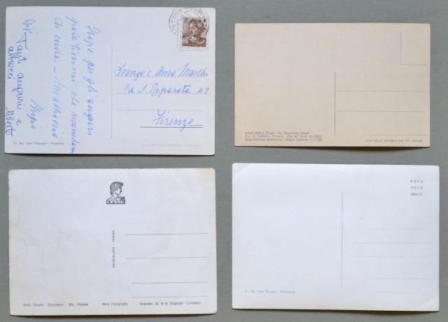 Toscana. VENTURINA, Livorno. Quattro cartoline d'epoca.  Tre mostrano il Castello della Magona e una via Vittorio Veneto.